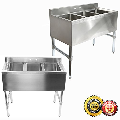 New Three 3 Compartment Stainless Steel Commercial Kitchen Sink (Mtn Commercial Stainless Steel compare prices)