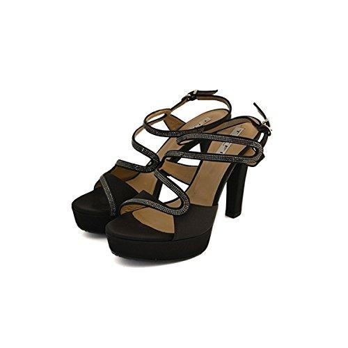 Decollete, sandali gioiello, Tiffi in raso nero, taglia: 35