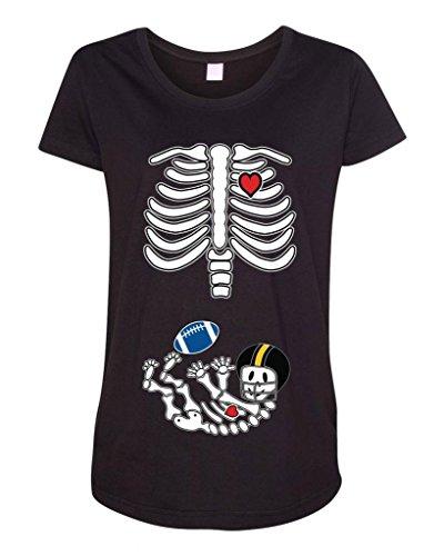 Baby Skeleton Pittsburgh Football Maternity Dt T-Shirt Tee (Medium, Black)
