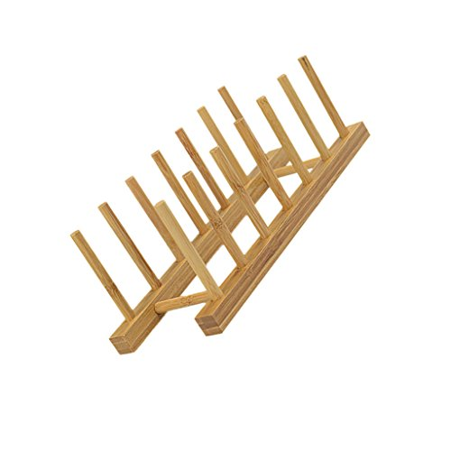 Kitchen Wood/Bamboo Holder Dish Storage Tray Rack Drainer Plate Stand - Rouge, 30*11.5*10.5cm (Dish Storage Display compare prices)