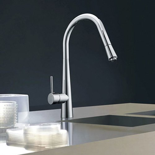 Single Handle High Arc Pull Out Kitchen Sink Faucet, Chrome
