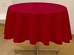 Soleil d&Ocre Espace - Mantel redondo antimanchas (180 cm), color rojo   Comentarios de clientes y más información