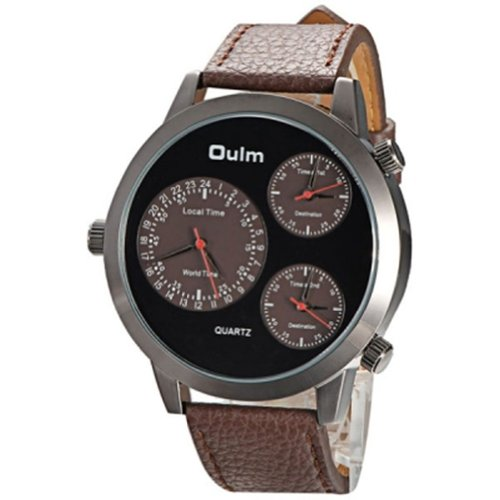 2014 New Arrival Oulm Russian Military Watch With 3 Time Zone Clock Man Japan Movement Quartz Digital Sport Watches - Brown