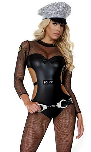 Forplay Women's Petite Mesh Cop Catsuit with Metallic Cutout Contrast and Patch