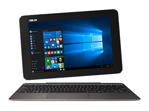 Asus Transformer Book T100HA-FU102T Portatile Convertibile in Tablet, Display da 10 Pollici con TouchScreen Glare, Processore Intel Atom Quad Core Z8500, RAM 2 GB, SSD da 32 GB, Tastiera Italiana, Grigio/Antracite