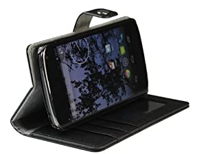 AceAbove Leather Folio Wallet Case & Stand for Google Nexus 4 (LG E960) - (Black)