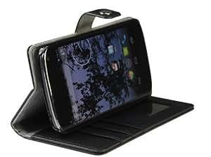 AceAbove Leather Folio Wallet Case & Stand for Google Nexus 4 (LG E960) - (Black)