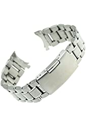Ritche 22mm Stainless Steel Bracelet Watch Band Strap Curved End Solid Links Color Silver
