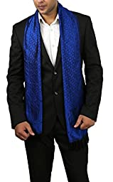 Men\'s Silk Scarf - Lightweight Fashion Accessory with Black & Blue Paisley Print