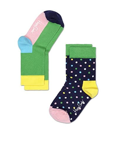 Happy Socks Kid's 2-Pack Dot & Colorblock Ankle Socks