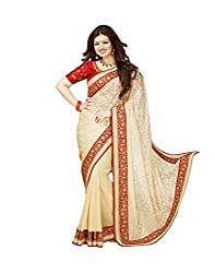 VinayTM Elegant Traditional Designer Georgette Brasso Lace Work Cream Red Saree With Blouse Material