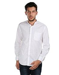 Oxemberg Men's Self Design Casual 100% Cotton White Shirt