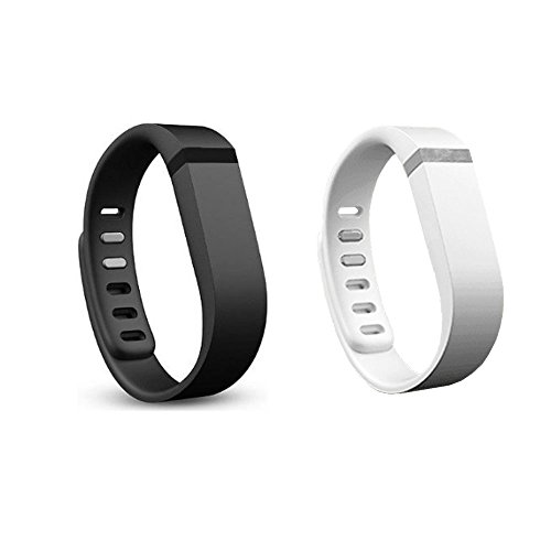 Amababa(Tm) 2Pcs Replacement Bands With Metal Clasps For Fitbit Flex / Wireless Activity Bracelet Sport Wristband / Fitbit Flex Bracelet Sport Arm Band (No Tracker, Replacement Bands Only) (White&Black, Small)
