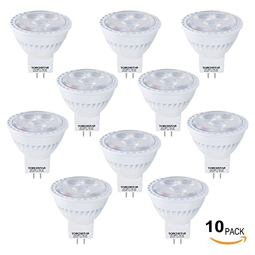 Lot of 10 AC/DC 12V 3W MR11 LED Bulb - 2700K Warm White LED Spotlight-GU4 Base 35W Equivalent-200 Lumen 30 Degree Beam Angle for Home, Recessed, Accent, Track Lighting