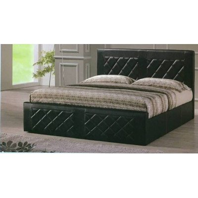 Hodedah Leather Bed, Queen, Black