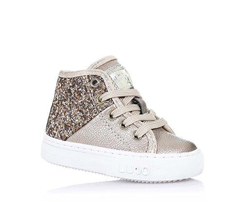 LIU JO - Sneaker dorata stringata in pelle e glitter, con chiusura zip laterale, logo sulla linguetta e laterale, cuciture a vista e suola in gomma, Bambina, Ragazza-28