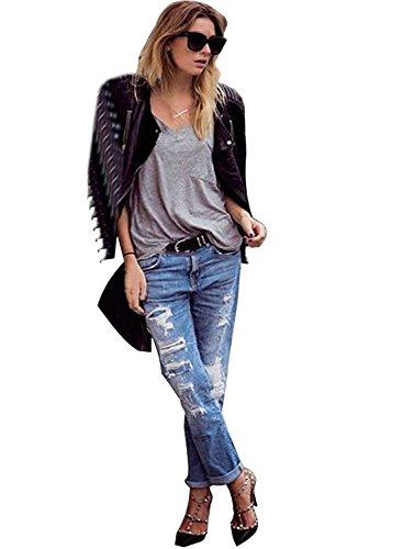 Minetom Donna Pantaloni Jeans Jeans A Vita Bassa - Casuale Jeans Distrutti ( IT 40 ( Vita62-66 cm ) )