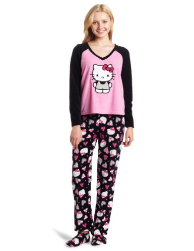 Black Kitty Printed Women's Cotton Sateen Pajama Set