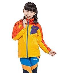 Makino Boy\'s/Gril\'s Hooded Waterproof Fleece Jacket 1247-3 Yellow and Orange XXX-Large