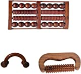 Aarsun Woods Wooden 2 Hand Massager and 1 Foot Massager Roller Body Stress Acupressure Acupuncture Cutter Massage
