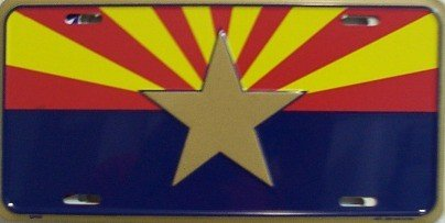 Smart Blonde Arizona Big Star State Flag Novelty Vanity Metal License Plate Tag Sign