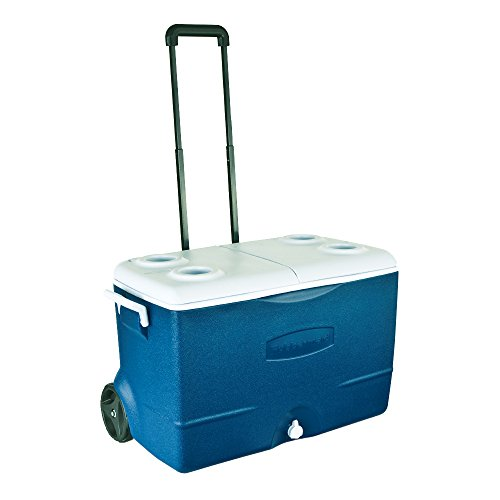 Rubbermaid Extreme 5-Day Wheeled Ice Chest Rolling Cooler, 50-Quart, Blue, FG2A9202MODBL (Travel Cooler Rubbermaid compare prices)
