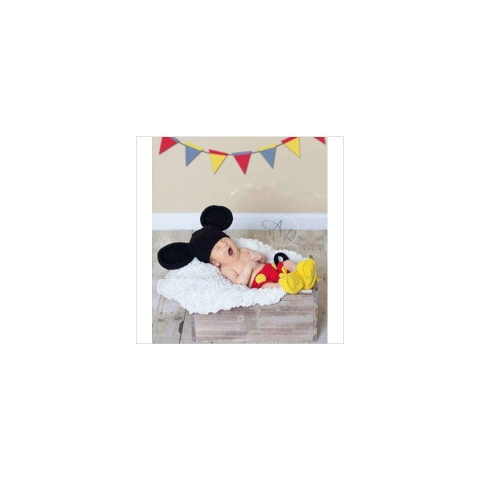 Black Yellow Mickey Baby Costume Crochet Beanie Animal Hat Cap Photo Photography Prop Toddler Knit