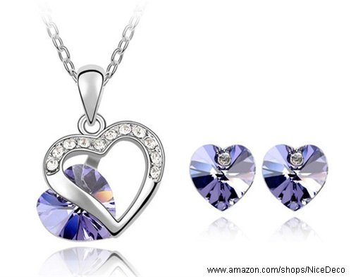 Nicedeco Je-Sw-Tz052-Purple,Swarovski Elements Austrian Crystal Jewelry Sets,A Promise,Necklace And Earring(2-Piece Set),Elegant Style And Exquisite Craftsmanship