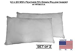 Mybecca [SET OF 2] 12 x 20 95%Feather 5%Down Top Quality Goose & Down Decorative Pillow Form Insert, Sham Staffer in Cotton Cover, Made in USA