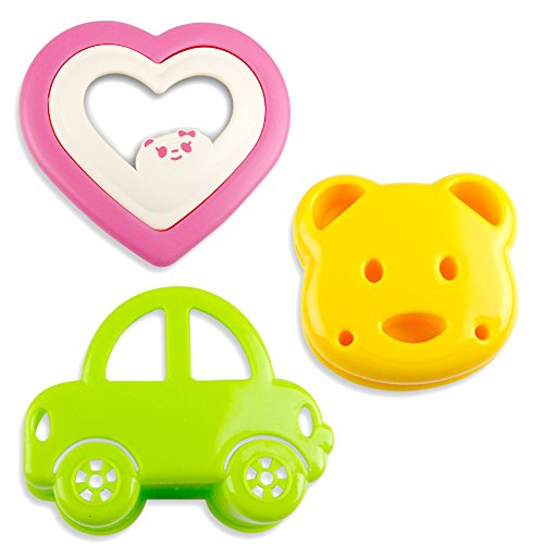 Kid Sandwich Mold   3pcs Premium Bread Toast Pancakes Cookie Cutter with Cute Car Bear Heart Shaped Design   Green Yellow Pink   956 (Bread Mold Bear compare prices)