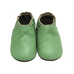 Mejale Baby Infant Toddler Shoes Green Anti-slip Soft Sole Leather Moccasin Pre-walker(green,6-12 months)