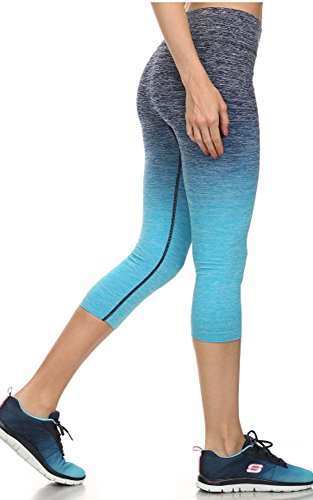 buy Lucky Love Ombre Four Way Stretch Athletic Capri Leggings w/Tabata Workout Plan (L/XL, Blue Ombre Crop) for sale