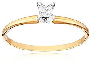 14k Yellow Gold Princess-Cut Solitaire Engagement Ring (1/4 cttw, I-J Color, I1-I2 Clarity), Size 9