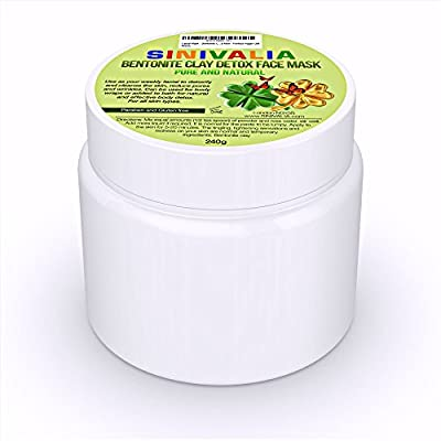 Bentonite Clay Facial Mask - For Acne, Blackheads and Rosacea on Face or Body   Pimples, Blemish and Pore Minimizer   Skincare to Reduce Wrinkles, Age Spots, Fine Lines and Aging   Cleansing Moisturiser for Dry or Oily Skin   Natural Mud Bath Detox for Fe