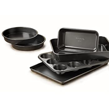 This versatile bakeware set from the Simply Calphalon Nonstick line provides all of the basic tools for home baking. Three cake pans, two 8-inch round and one 9 inch x 13 inch are perfect for baking all kinds of treats from simple angel food cakes to...