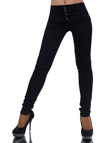 l589-damen-jeans-hose-corsage-damenjeans-high-waist-rohrenjeans-hochbund-farbenschwarzgrossen34-xs