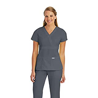 Grey's Anatomy Women's Junior-Fit Three-Pocket Mock-Wrap Scrub Top