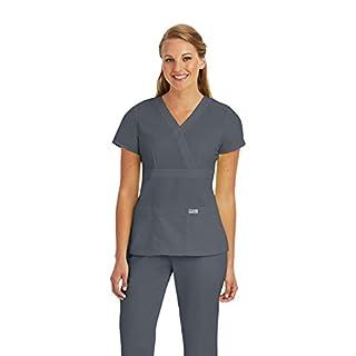 Grey's Anatomy Women's Junior-Fit Three-Pocket Mock-Wrap Scrub Top