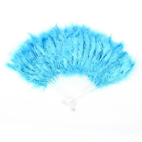 TOOGOO(R) Folding Hollow Plastic Feather Dancing Hand Fan White Cyan Blue (Feather Fans compare prices)