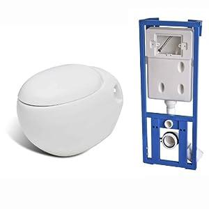 Cuvette WC suspendue blanche abattant et bati-support