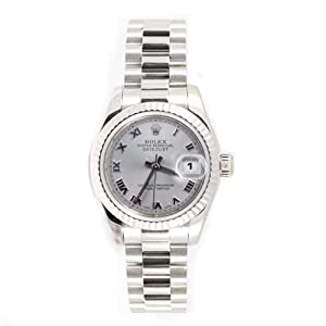 Rolex Ladys President New Style Heavy Band 18k White Gold Model 179179 Fluted Bezel Silver Roman Dial
