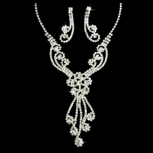 Bridal Wedding Jewelry Set Crystal Rhinestones Gorgeous Dazzle Design Necklace