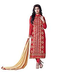 Subhash Sarees Daily Wear Red Color Fox Georgette Salwar Suit Dress Material