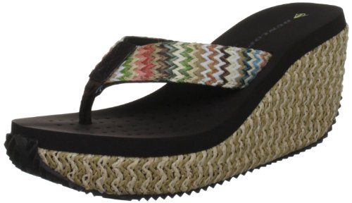 Dunlop Womens Girls New Kansas Brown Wedge Mule Flip Flop Espadrille UK 4-8
