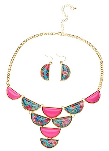 Btime Women Resin Decorative Pattern Geometry Choker Statement Collar Sets Necklace & Earrings (pink)
