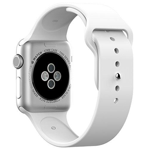 Apple Watch Bracelet, JETech Remplacement de Silicone Souple Sport Band Strap pour Apple Watch Tous les modèles 42mm (Blanc)