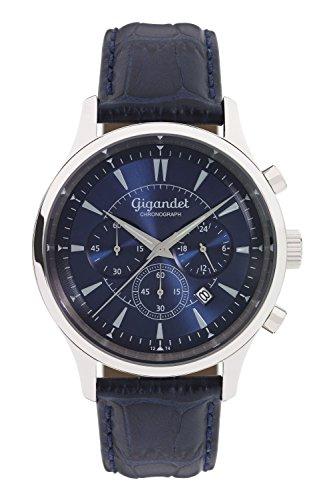 Gigandet Reloj de Hombre Cuarzo Brilliance Cronógrafo Analógico Cuero Azul G48-003