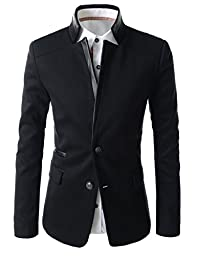 (LPJ03) TheLees Mens Slim Fit China Collar Leather Patched 2 Button Blazer BLACK US S(Tag size XL)