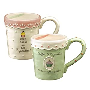 Grasslands Road Just Desserts Cupcake 16-Ounce Message Mugs Two Styles, Set of 6