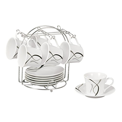 Lorren Home Trends 13-Piece Porcelain Espresso Cup Set with Iron Stand, Confetti Line Design, Black, White and Grey (Espresso Cup Stand compare prices)